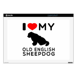 I Love My Old English Sheepdog. Laptop Decals