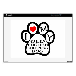 "I Love My Old English Sheepdog. 15"" Laptop Decals"