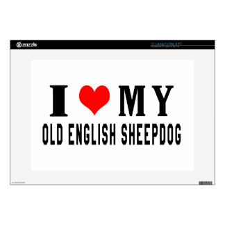 I Love My Old English Sheepdog Skins For Laptops
