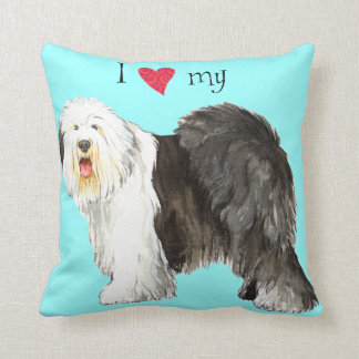I Love my Old English Sheepdog Throw Pillow