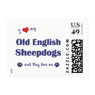 I Love My Old English Sheepdogs (Multiple Dogs) Postage Stamp