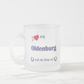 I Love My Oldenburg (Female Horse) Frosted Glass Coffee Mug