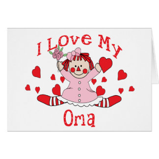 I love My Oma Rag Doll & Hearts Card