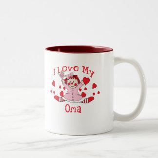I love My Oma Rag Doll & Hearts Two-Tone Coffee Mug
