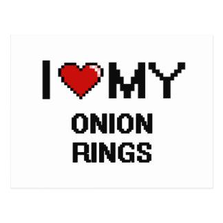I Love My Onion Rings Digital design Postcard