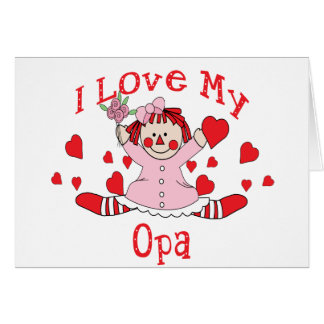 I love My Opa Rag Doll & Hearts Card
