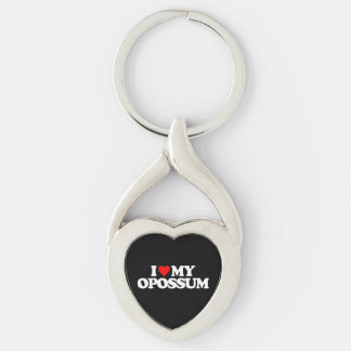 I LOVE MY OPOSSUM Silver-Colored Heart-Shaped METAL KEYCHAIN