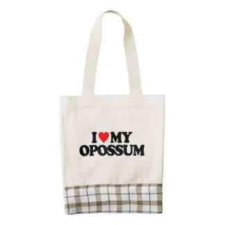 I LOVE MY OPOSSUM ZAZZLE HEART TOTE BAG