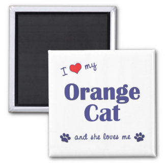 I Love My Orange Cat (Female Cat) 2 Inch Square Magnet