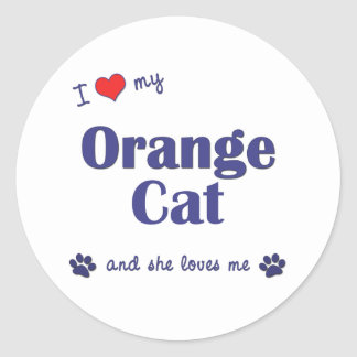 I Love My Orange Cat (Female Cat) Classic Round Sticker