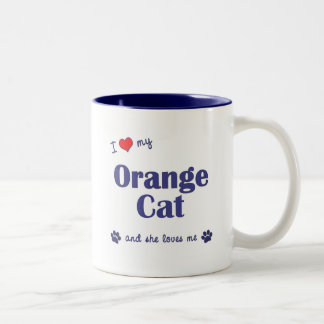 I Love My Orange Cat (Female Cat) Two-Tone Coffee Mug