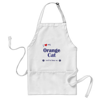 I Love My Orange Cat (Male Cat) Adult Apron