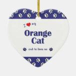 I Love My Orange Cat (Male Cat) Ornaments