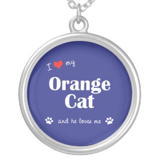 I Love My Orange Cat (Male Cat) Round Pendant Necklace