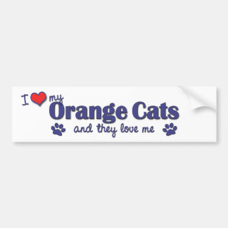 I Love My Orange Cats (Multiple Cats) Bumper Sticker