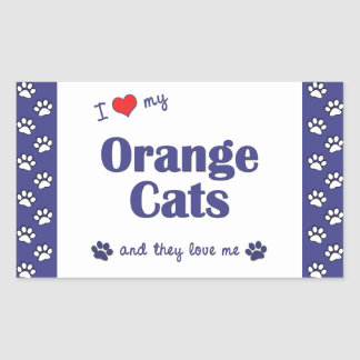 I Love My Orange Cats (Multiple Cats) Rectangular Sticker