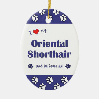 I Love My Oriental Shorthair (Male Cat) Double-Sided Oval Ceramic Christmas Ornament
