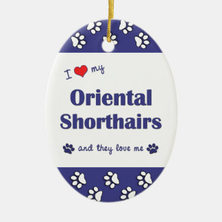 I Love My Oriental Shorthairs (Multiple Cats) Double-Sided Oval Ceramic Christmas Ornament