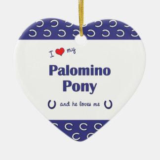 I Love My Palomino Pony (Male Pony) Double-Sided Heart Ceramic Christmas Ornament