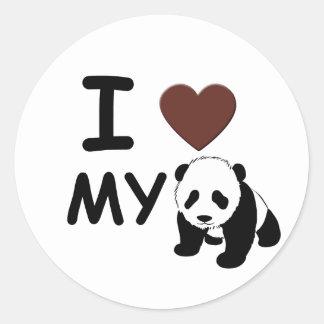 I LOVE MY PANDA ROUND STICKER