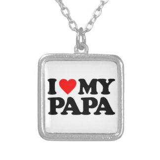 I LOVE MY PAPA SQUARE PENDANT NECKLACE