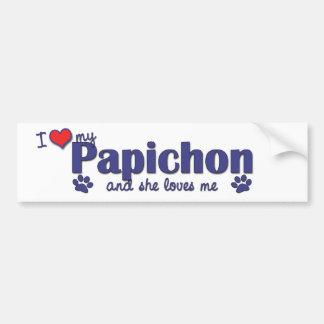 I Love My Papichon (Female Dog) Bumper Sticker