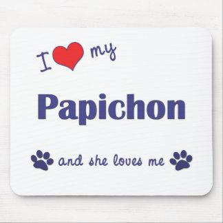 I Love My Papichon (Female Dog) Mouse Pad