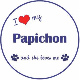 I Love My Papichon (Female Dog) Photo Statuette