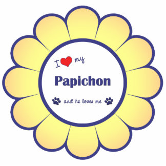 I Love My Papichon (Male Dog) Photo Statuette