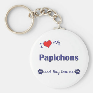 I Love My Papichons (Multiple Dogs) Basic Round Button Keychain