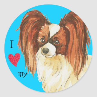 I Love my Papillon Classic Round Sticker