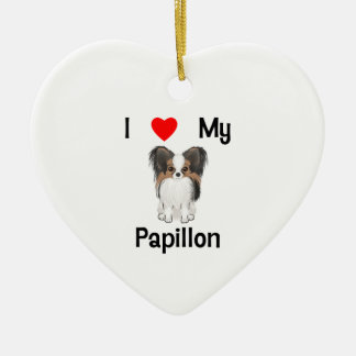 I Love My Papillon (picture) Ornaments