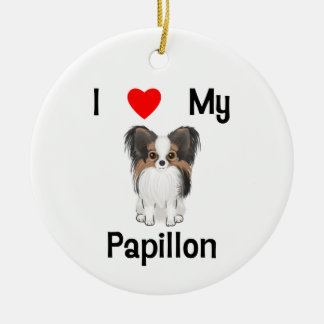 I Love My Papillon (picture) Christmas Ornaments