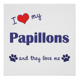 I Love My Papillons (Multiple Dogs) Poster