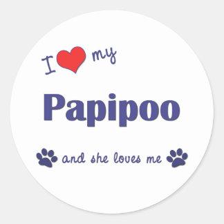 I Love My Papipoo (Female Dog) Classic Round Sticker