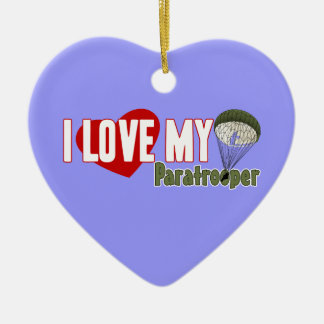 I Love My Paratrooper Double-Sided Heart Ceramic Christmas Ornament