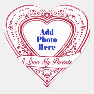 I Love My Parents! Photo Red Hearts Heart Sticker