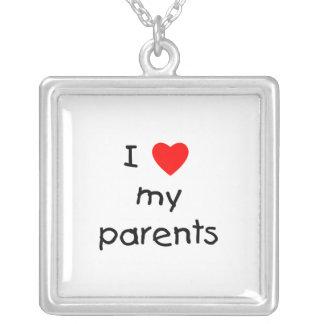 I Love My Parents Square Pendant Necklace
