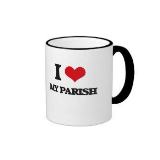 I Love My Parish Ringer Coffee Mug