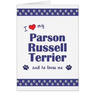 I Love My Parson Russell Terrier (Male Dog) Stationery Note Card
