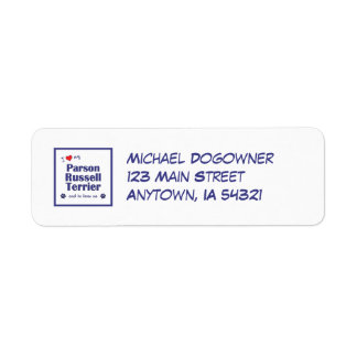 I Love My Parson Russell Terrier (Male Dog) Return Address Label