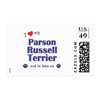 I Love My Parson Russell Terrier (Male Dog) Postage Stamps