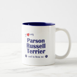 I Love My Parson Russell Terrier (Male Dog) Two-Tone Coffee Mug