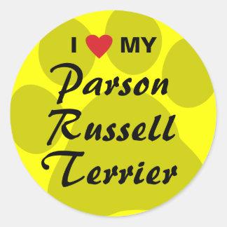 I Love My Parson Russell Terrier Round Sticker