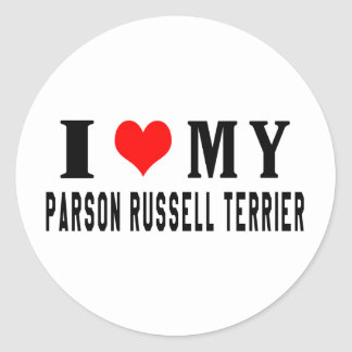 I Love My Parson Russell Terrier Round Stickers