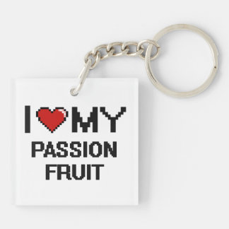 I Love My Passion Fruit Digital design Double-Sided Square Acrylic Keychain