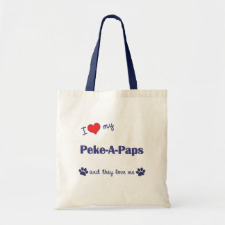 I Love My Peke-A-Paps (Multiple Dogs) Budget Tote Bag