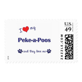 I Love My Peke-a-Poos (Multiple Dogs) Stamps