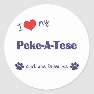 I Love My Peke-A-Tese (Female Dog) Classic Round Sticker