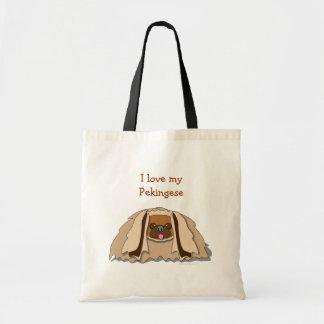 I Love My Pekingese Cartoon Pekingese Dog Tote Bag